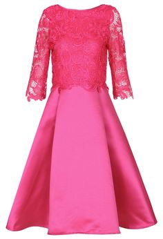 Rose Red Round Neck Lace Pleated Dress $MXN742.82