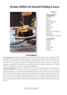Brownie Waffeln mit Karamellpudding und Karamellsauce - Brownie Waffles with caramel custard and caramel sauce | Das Knusperstübchen