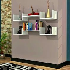 51 DIY Bookshelf Plans & Ideas to Organize Your Precious Books Diy Bookshelf Plans, Bookshelf Design, Wall Shelves Design, Floating Wall Shelves, Wall Mounted Shelves, Minimal House Design, Creative Bookshelves, Geometric Shelves, Diy Home Decor