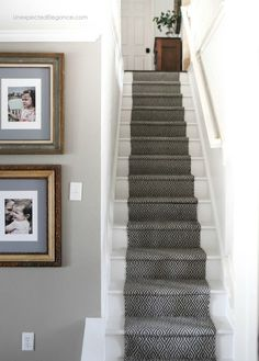 See how to replace your outdated and dingy carpet with an inexpensive stair runner. #DIY #staircase #makeover