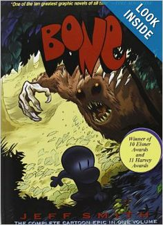 Written in graphic novel form, follow the Bone cousins's adventures. After they are chased out of Boneville, their adventures push them along into the dark forest where surprises, both good and bad, await them.