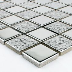 Porcelain Mosaic Grey Square Metal Coating Tile Kitchen Backsplash Bathroom Wall Sticker Mirror Tile