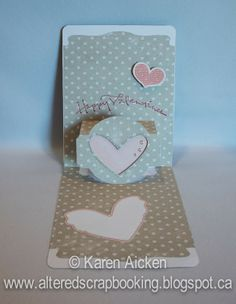 Karen Aicken using the A2 Pop 'n Cuts Base with included Circle Label insert and embellishing with Pop it Ups Heart Pivot dies by Karen Burniston for Elizabeth Craft Designs - Altered Scrapbooking: Happy Valentine's Day