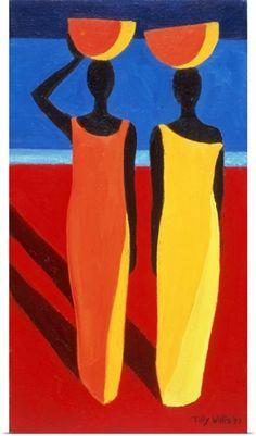 Sisters, 1993 is part of pencil-drawings - pencil-drawings Black Art Painting, Painting Prints, Canvas Prints, Framed Prints, Afrique Art, Diy Canvas Art, Big Canvas, African Art Paintings, African American Art