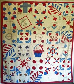 Old-Sampler quilt- Southern Baptist Church fund-raiser..charming entries listed on Ruby Lane 2/22/15