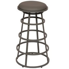 """Armen Living Ringo 26"""" Backless Metal Barstool Available in Gray or White Pu"""