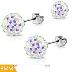 Stainless Steel Argil Disco Ball Shamballa Stud Earrings With Aurore Boreale CZ Pair Disco Ball, Steel Jewelry, Mystic, Stud Earrings, Stainless Steel, Pairs, Products, Sunrises, Earrings