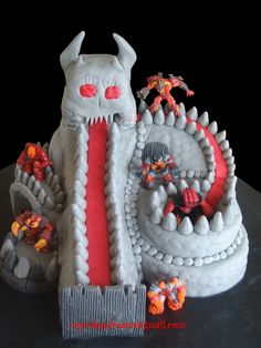 GORMITI VOLCANO - My son is crazy about Gormitis...so this was the Gormiti cake I did for him to take to school.The kids loved it.
