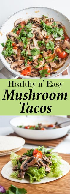 Healthy Mushroom Tacos Recipe (V&GF) | VeganFamilyRecipes.com | #vegan #vegetarian #dinner #lunch #easy #health #fall #winter