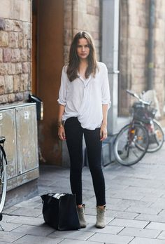 street style white blouse black skinnies gray booties    I need an endless wardrobe fund...at least until I buy my closet staples. Why must clothing be so stinkin' expensive?