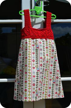 Beautiful Red Dress crochet and fabric together <3