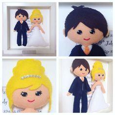 Handmade Wedding Frame Gift Felt Doll in by SweetPeaTreasures31