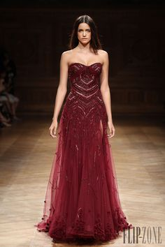 Evening Gown in a Rich Wine Color Embellished with Beading by Tony Ward Fall-winter 2014-2015 - Couture - http://www.flip-zone.net/fashion/couture-1/independant-designers/tony-ward-4807