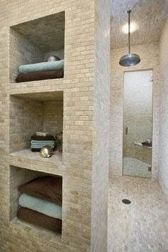 Walk-in shower with storage by beth