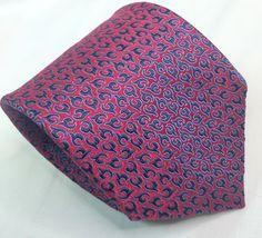 Ermenegildo Zegna Silk Necktie Tie Woven Pink Blue Abstract 59.25 x 3.5 EUC #ErmenegildoZegna #NeckTie