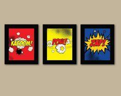 Set of 3 Comic Superhero Prints - 8x10 Prints - Comic Book - Boys Room Decor - Kids Room Wall Art via Etsy