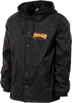 Thrasher Flame Logo Coach Jacket w/ Fleece Hood black Titus Onlineshop