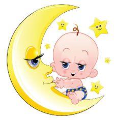 Baby On Moon - Funny Baby Clip Art