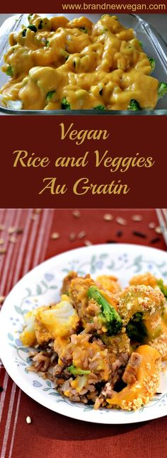 This VEGAN RICE and VEGGIES AU GRATIN combines Brown Rice, Tempeh, & Frozen Veggies with a rich Vegan Cheese Sauce for a quick and nutritious dinner.