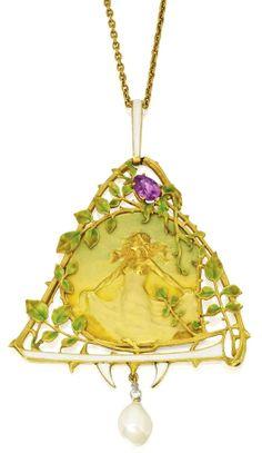 18 Karat Gold, Enamel, Pink Sapphire, Natural Pearl and Diamond Pendant-Necklace, Lucien Gautrait, Maison Gariod, France Art Noveau