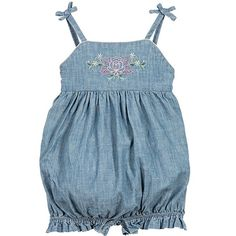 I love rompers for my little girl!  Makes getting dressed so EASY. - Ralph Lauren Baby Girls Embroidered Chambray Shortall