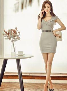 Son Youn Ju Fashion t Asian Sons and Korean Tight Dresses, Sexy Dresses, Cute Dresses, Short Dresses, Asian Fashion, Girl Fashion, Fashion Outfits, Womens Fashion, Mode Kpop