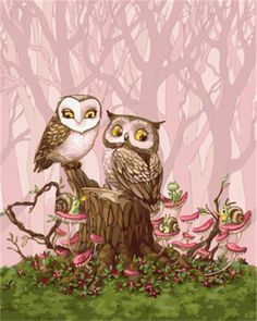 'Owl Love' by Lia Selina - aww sweet Owl Bird, Bird Art, Owl Cartoon, Cartoon Owl Drawing, Owl Pictures, Drawing Pictures, Owl Always Love You, Beautiful Owl, Wise Owl