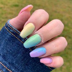 Easter Color Nails, Easter Nails, Stylish Nails, Trendy Nails, Cute Nails, Cute Spring Nails, Light Pink Acrylic Nails, Pastel Nail Art, Dip Nail Colors
