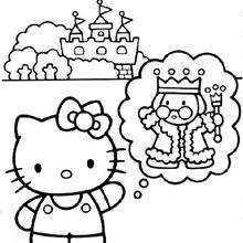 Hello Kitty, King and the castle coloring page - Coloring page - GIRL coloring pages - HELLO KITTY coloring pages