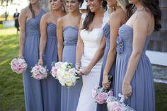 Pretty purple bridesmaids dresses.