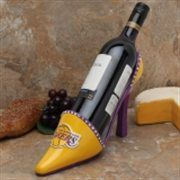 Los Angeles Lakers Shoe Wine Bottle Holder Holiday Gift Guide | Wine Leggs #Wine #LALakers #Lakers #Basketball