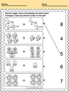 Free Printable Kindergarten Math Worksheets - Counting Number for Kids  #KindergartenMathWorksheets Picture Addition Worksheet for Kindergarten #worksheets #printableworksheets #kids #education #kindergarten #worksheetsforkindergarten #freeprintableworksheets