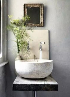 Small Bathroom Ideas // unique idea for a small bathroom or powder room. Loving the vessel sink with wall mounted faucets. The antique mirror and rustic wood countertop add so much character // Tadelakt, Cool Ideas, Amazing Ideas, Awesome, Creative Ideas, Rustic Chic, Rustic Wood, Rustic Stone, Wood Stone