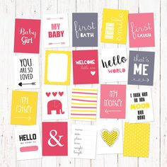 "Scrapbook and journal cards for newborn baby girls. 20 cute cards for instant download. Size 3X4"". Vol 1. by GraphicCorner on Etsy"
