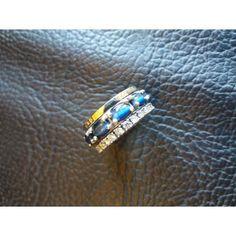 Anel em Ouro de 9 K e Prata lei 925 e Zircónios Brancos com Cristal Azul