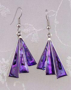Alpaca Mexican Silver Purple Abalone Shell Fan Earrings Fashion Jewelry NEW…