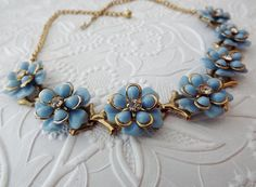 Vintage Flower Necklace, Baby Blue 1950s Costume Jewelry by STLvintage