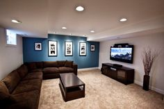 Foxgate Basement Renovation- LOVE this accent wall color!