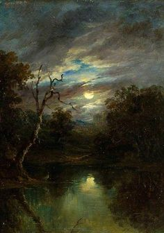 Moonlight Landscape - John of Ipswich Moore British Your Paintings, Beautiful Paintings, Landscape Art, Landscape Paintings, Moonlight Painting, Creation Art, Photo D Art, Nocturne, Art Uk