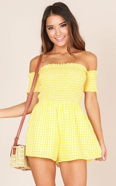 Showpo About The Weekend playsuit in yellow check - 14 (XL) Rompers &