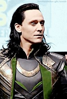 """Loki...  gif. He silenced a whole hall of screaming fans with one """"shhh""""....*ovaries explode"""