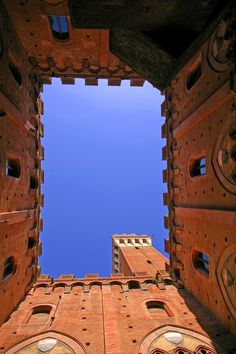 Courtyard of Palazzo Pubblico in Siena, Italy