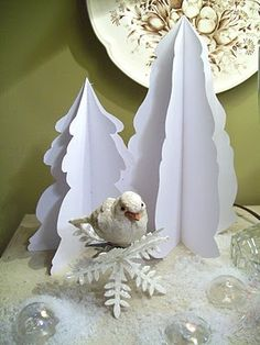 paper tree Christmas decor  The Party Goddess! Marley Majcher   www.thepartygoddess.com ©  #winterwonderland #christmasdisplay
