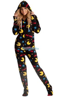 6dc2f62fad Pac-Man Hooded Adult Pajamas. What was more fun than playing video games as
