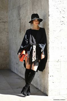 poncho, skirt, boots