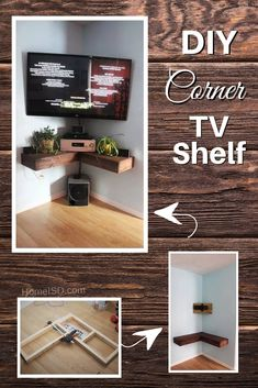 42 DIY TV Stands and Media Consoles You Can Totally Build at Home DIY Corner TV Shelf – a great project idea. Check out other DIY TV stand ideas with tutorials as Corner Tv Shelves, Diy Corner Shelf, Corner Tv Cabinets, Corner Tv Stands, Tv Shelf, Tv In Corner, Corner Tv Stand Ideas, Bedroom Tv Stand, Bedroom Corner