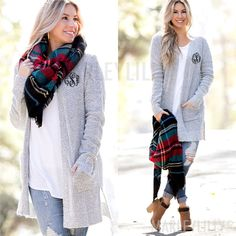 If you love our Monogrammed Boyfriend Sweater, you will love this Monogrammed Cardigan!
