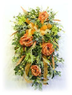 Silk Floral Door Swag Tangerine, Green and Yellow By www.sugarcreekhd.com