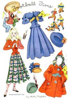 FOOTBALL TIME Story Parade October 1948 Hilda Miloche  paper dolls