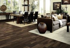 32 Fabulous Living Room Decor Ideas With Brown Furniture - Take the flower wall paper down; it's time to start really thinking about living schemes. Most people never even thinking about living room, because t. Dark Wood Floors Living Room, Living Room Flooring, Rugs In Living Room, Living Room Furniture, Living Room Decor, Dining Room, Room Rugs, Cheap Hardwood Floors, Dark Hardwood